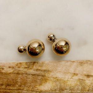 Jewelry - Gold Double Ball Stud Earrings Front Back Earrings